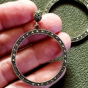 Marcasite Hoop/Post Earrings, 925